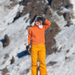 Orange girl in high mountains — Stock Photo