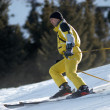 Stock Photo: Yellow mountain skier