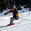 Fast mountain skier downhill on ski resort slope — Stock Photo #2699314