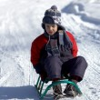 Boy on sled - Stock Photo