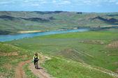 Adventure mountain biking — Stock Photo