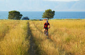 Bike tourist on yellow field beside lake — Stock Photo