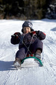 Boy on sled — Stock Photo