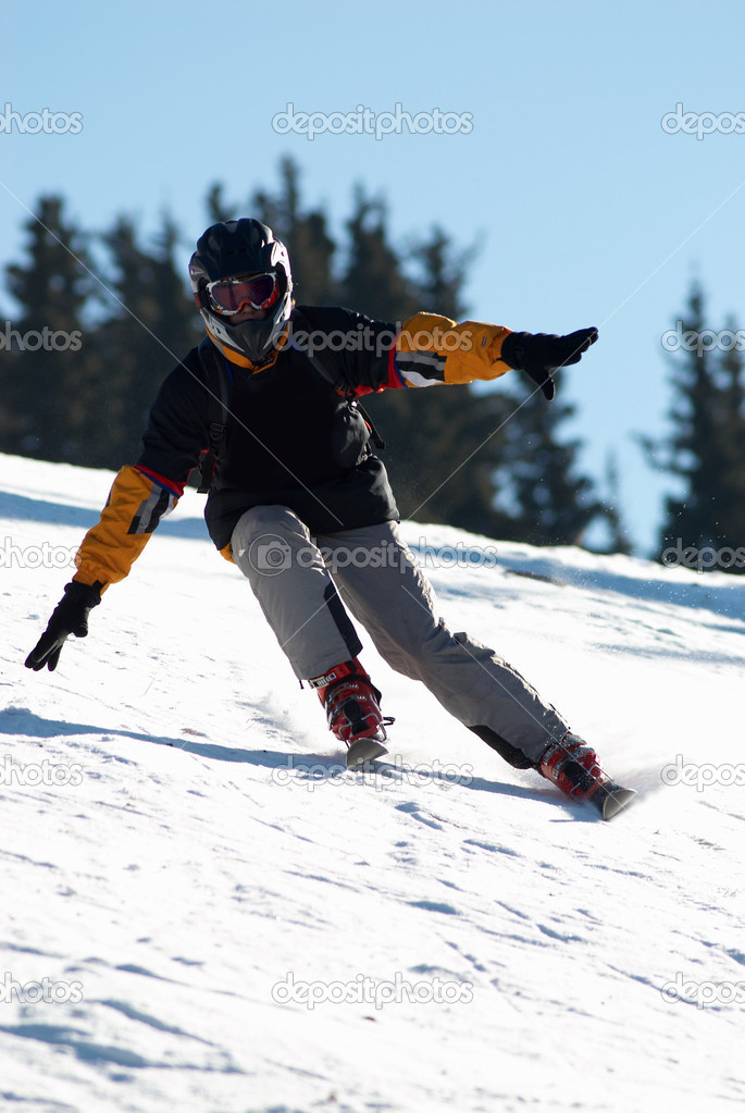 Black skier in helmet  Stock fotografie #2699139