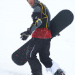 Snowboarder in defence — Stock Photo