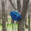 Biker helmet in spring forest — Stock Photo