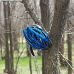 Biker helmet in spring forest — Stock Photo