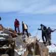 Stock Photo: High mountains treking group