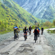 Stock Photo: Group of the bikers on old mountain road