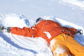 Snowboard girl on snow — Stock Photo