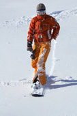 Orang snowboard girl — Stock Photo
