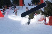 Extreme snowboarder fall — Stock Photo