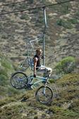 Biker on elevator — Stock Photo