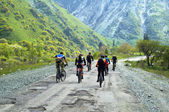Group of the bikers on old mountain road — Stock Photo