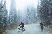 Dos motociclistas en las montañas de primavera — Foto de Stock