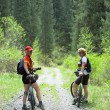 Stock Photo: Two womens on mountain bikes in forest