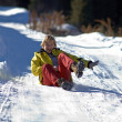 Young woman ride on snow road — Stock Photo