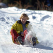 Young woman ride on snow road — Stock Photo #2710395