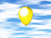 Yellow balloon against the sky — Zdjęcie stockowe