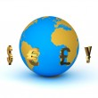 Currency around the planet earth — Stock Photo