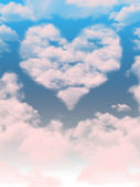 Blue sky and clouds in the shape of a heart — Stock Photo