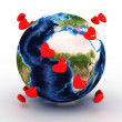 Stock Photo: Planet earth with hearts