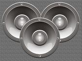 Three isolated loudspeakers — Stock Photo