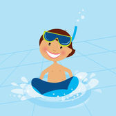 Small boy swimming in water pool — Stock Vector