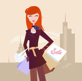 Fashion woman with shopping bags in town — Stock Vector