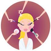 Make - up woman - facial treatment — Stock Vector