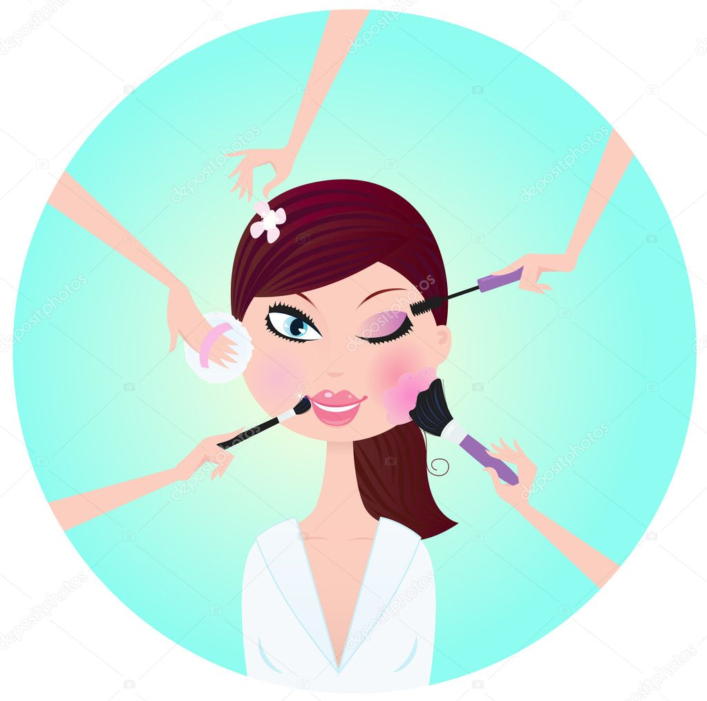 Beautiful blond woman in beauty salon. Mascara, blush sponge, powder and eye shadows - best way for perfect look! Stylized vector illustration. — Stock Vector #2872570