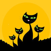Silueta de familia - negro gato en orange — Vector de stock