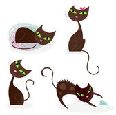 Brown cat series in various poses 2 — Vector de stock