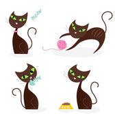 Brown cat series in various poses 1 — Stock Vector