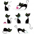 Black cat silhouette collection — Stock Vector #2936652