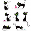 Black cat silhouette collection - Stock Vector