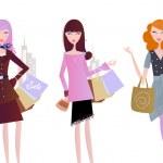 kobiety z torby na zakupy na białym tle na whi — Wektor stockowy