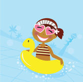 Child in water pool — Stock Vector