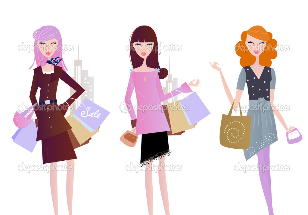 Sexy women on shopping in the city. Vector Illustration isolated on white background. — ベクター素材ストック #2969015