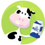 vaca feliz con la caja de leche — Vector de stock