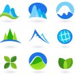 Nature, mountain and turism icons - blue — Stock Vector