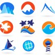 Vacation travel and holiday summer icons — Stock Vector