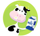 Happy cow with milk box — Stock Vector