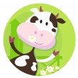 Stock Vector: Happy cow character - farm animal