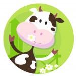 Happy cow character - farm animal — Stock Vector