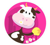 Happy cow character with bell — ストックベクタ