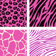 Stock Vector: Fashion tiling pink animal print pattern