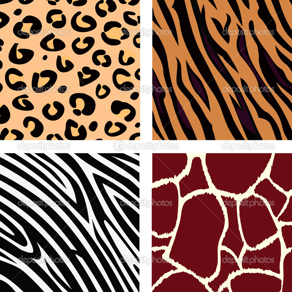 Vector Illustration of tiger, zebra, giraffe and leopard pattern. Animal print pattern. — Stok Vektör #3124171