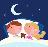 Siblings - boy and girl sleeping — Stock Vector