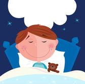 Small boy with his teddy bear sleeping — Vector de stock